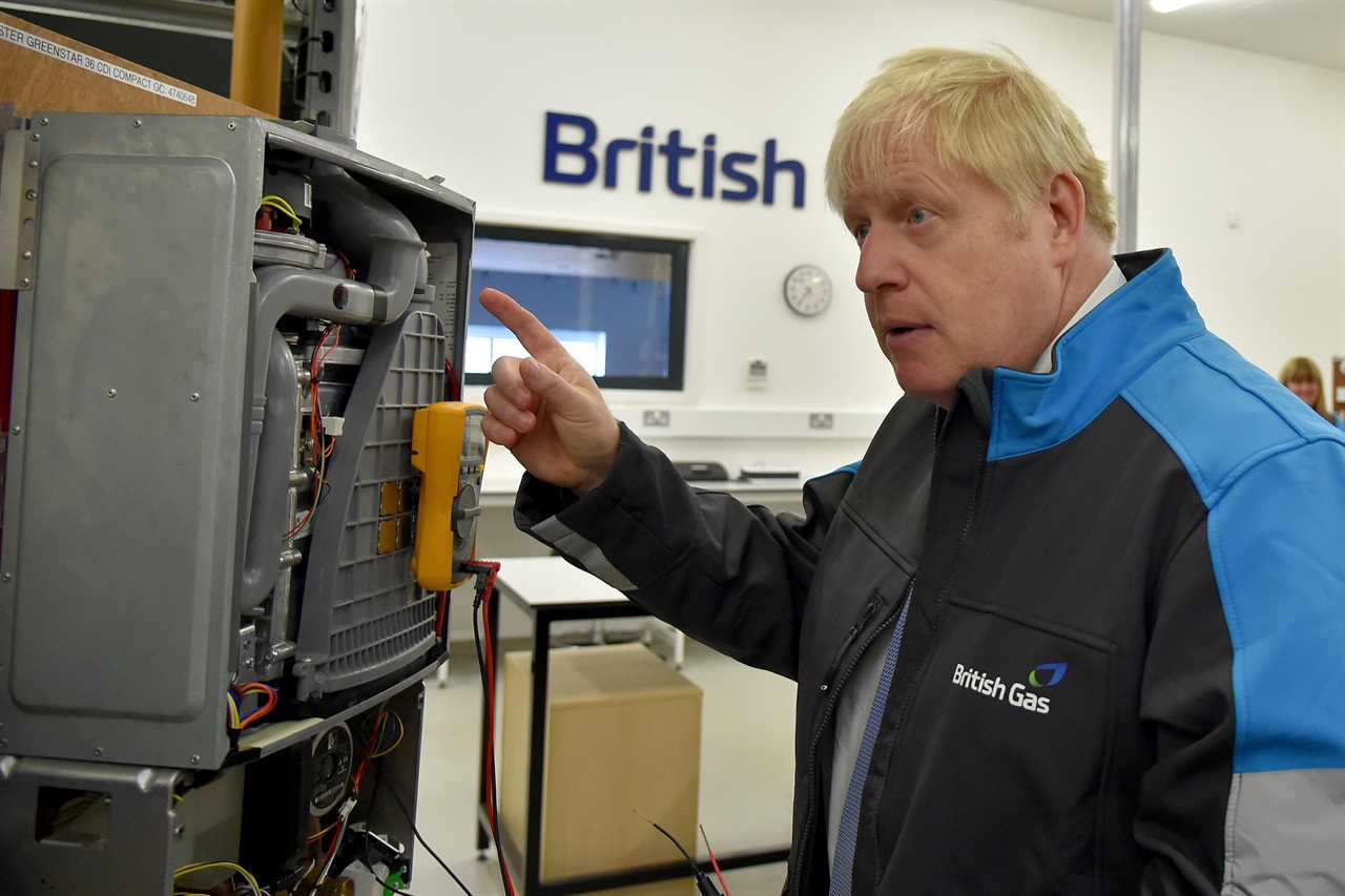 Boris Johnson on a visit to a British Gas plant in Leicestershire today